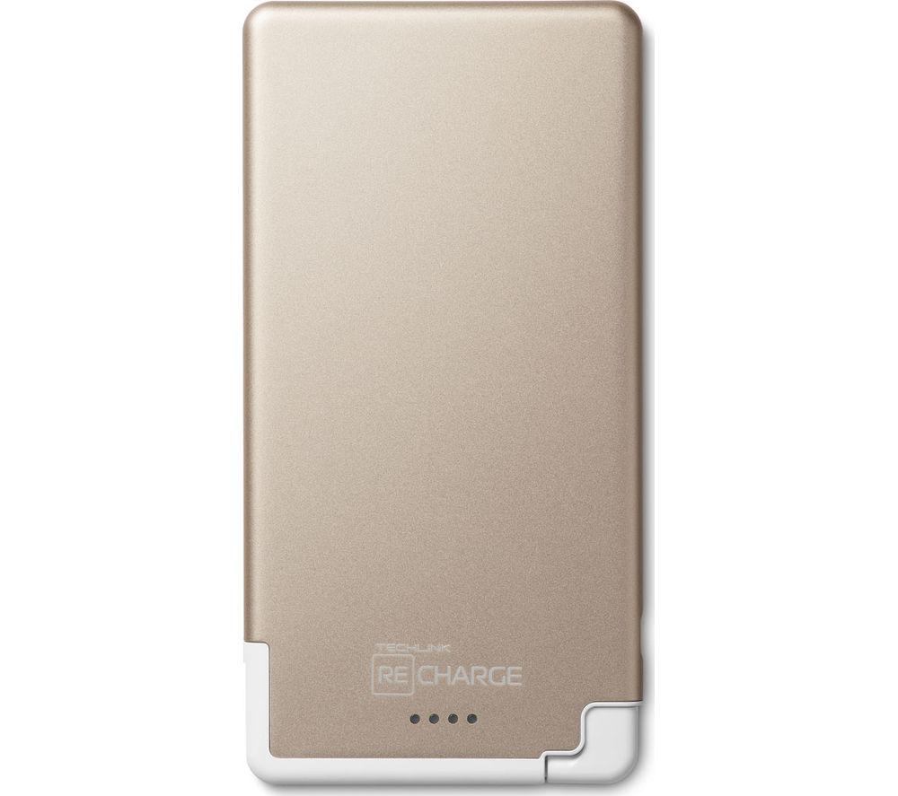 Techlink Recharge Ultrathin 5000 Universal Lightning Charger - Gold & White, Gold