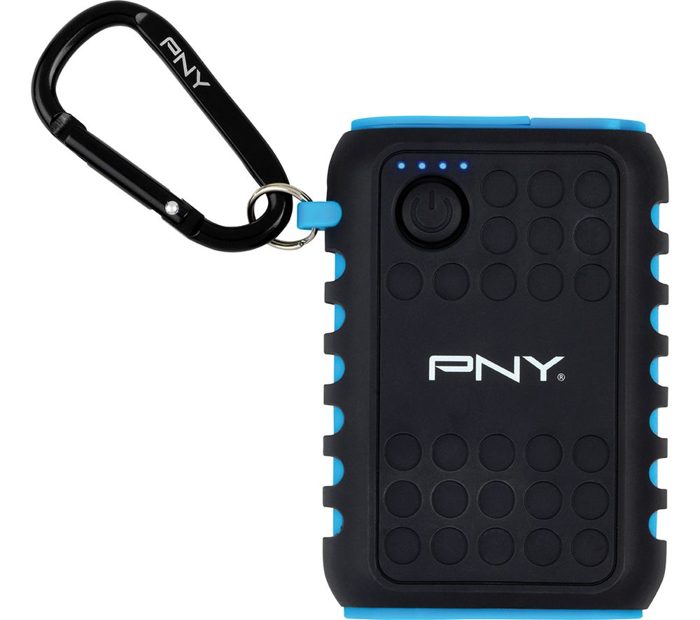 PNY Outdoor Charger 7800 mAh Portable Power Bank - Black & Blue, Black
