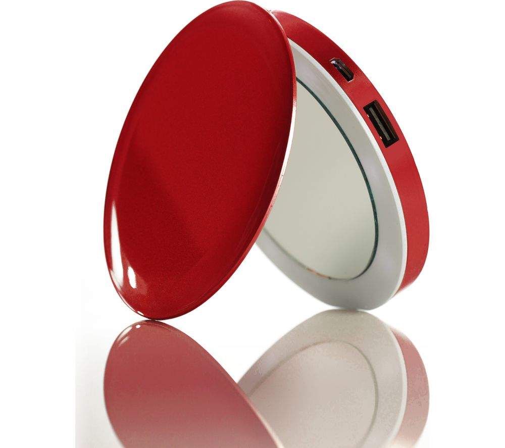 HYPER Pearl Make-Up Mirror 3K Portable Power Bank - Red, Red