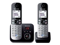 Panasonic KX-TG6822EB - cordless phone - answering system with caller ID + additional handset